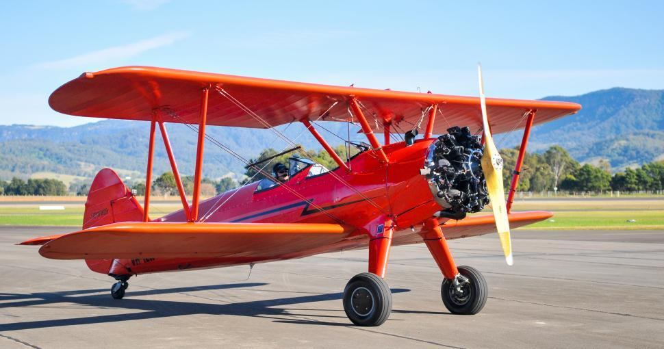 Download Free Stock Photo of Red biplane