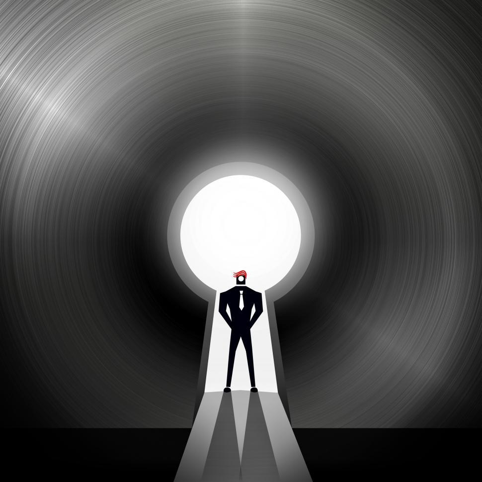 Download Free Stock Photo of Businessman through the keyhole