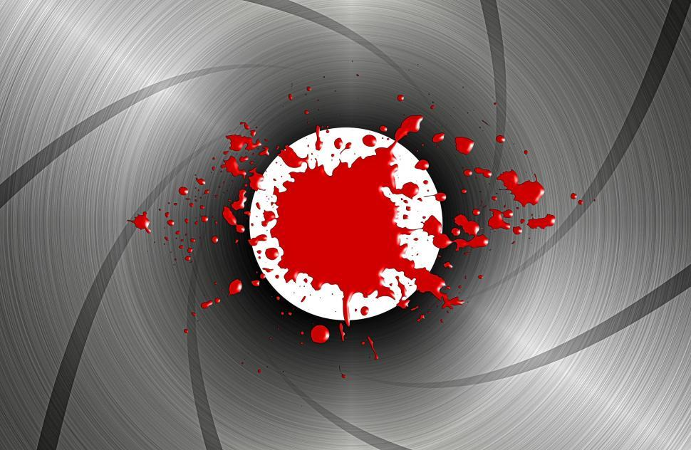 Download Free Stock Photo of Blood spatter down the barrel of a gun