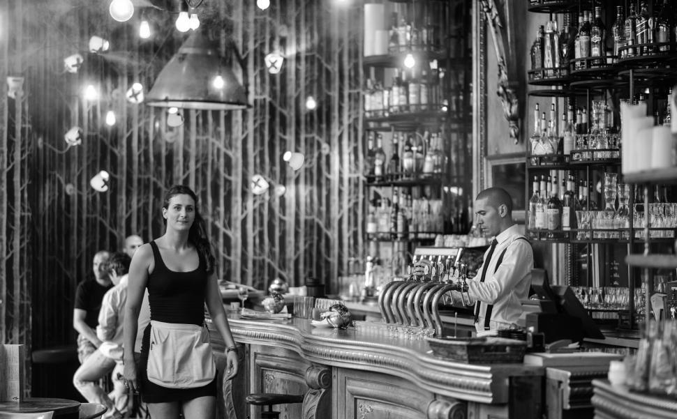 Download Free Stock Photo of Black and white photograph of a bar counter