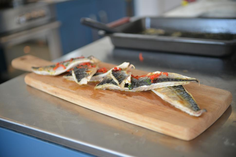 Download Free Stock HD Photo of Mackerel caramelized onions tartar Online