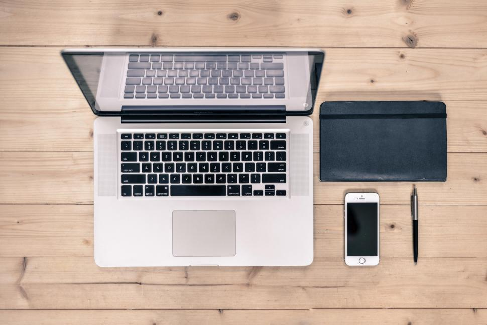 Download Free Stock HD Photo of Flat lay of laptop Online