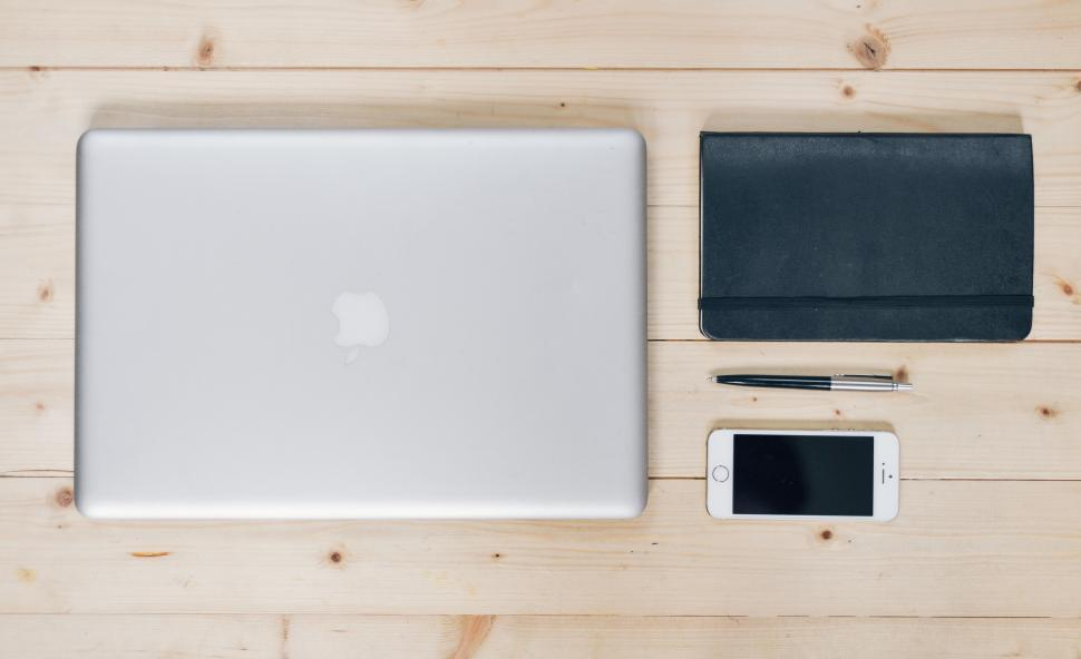 Download Free Stock Photo of Flat lay of modern desk workspace