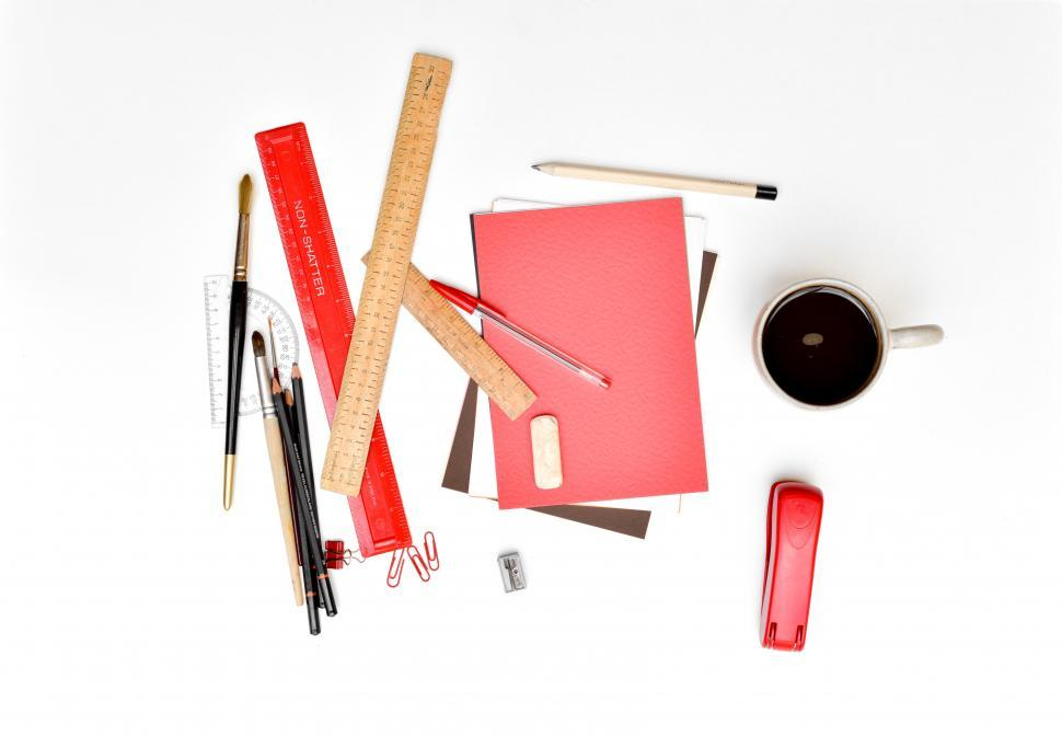 Download Free Stock HD Photo of Flat lay of various stationery items Online