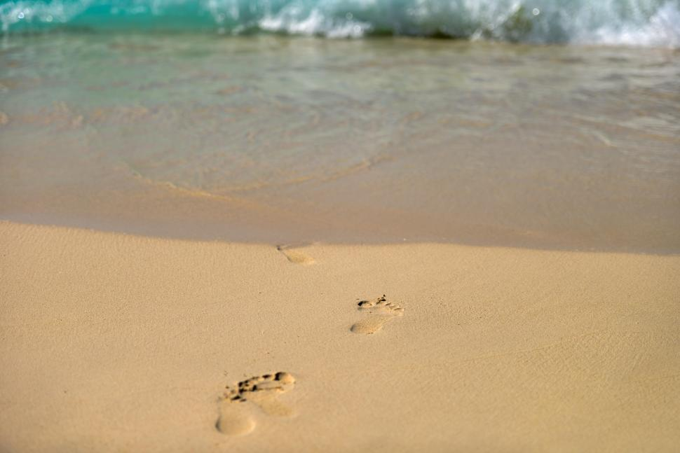 Download Free Stock HD Photo of Beach, wave and footprints  Online