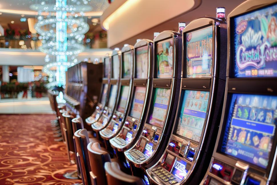 Download Free Stock Photo of Slots machines in a casino