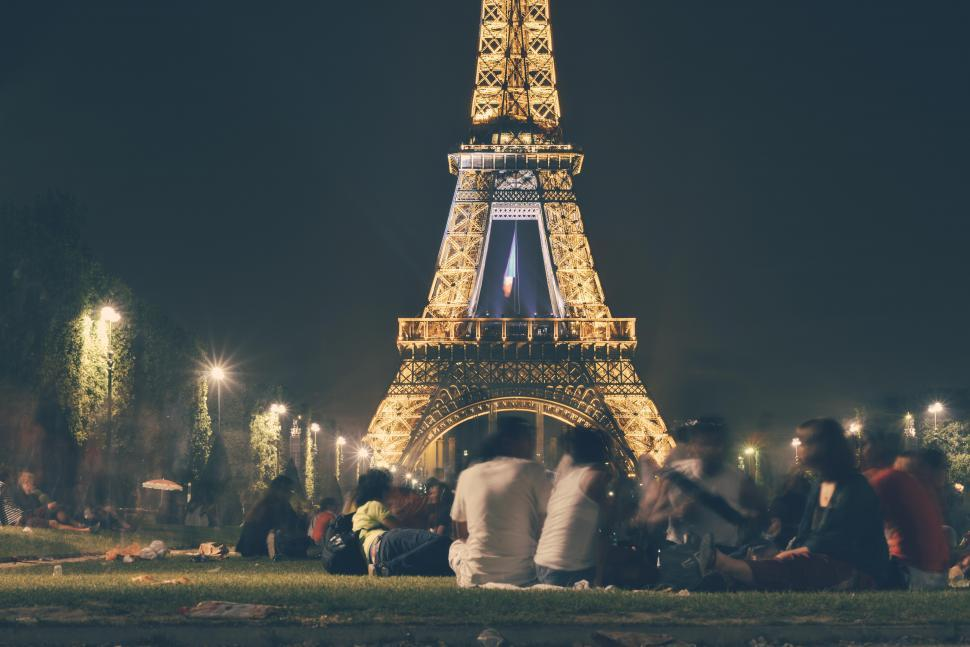 Download Free Stock HD Photo of Sitting at the Eiffel Tower Online