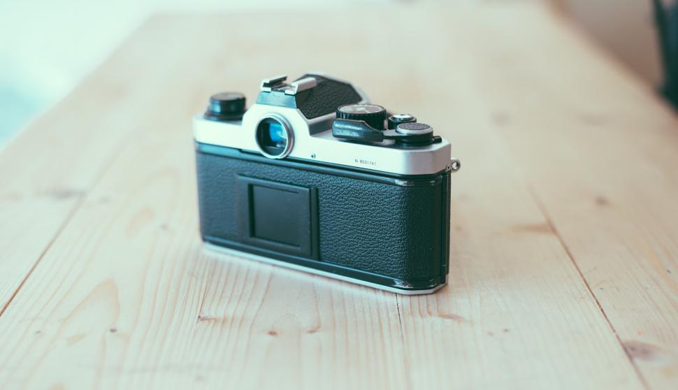 Download Free Stock Photo of Vintage SLR camera back view