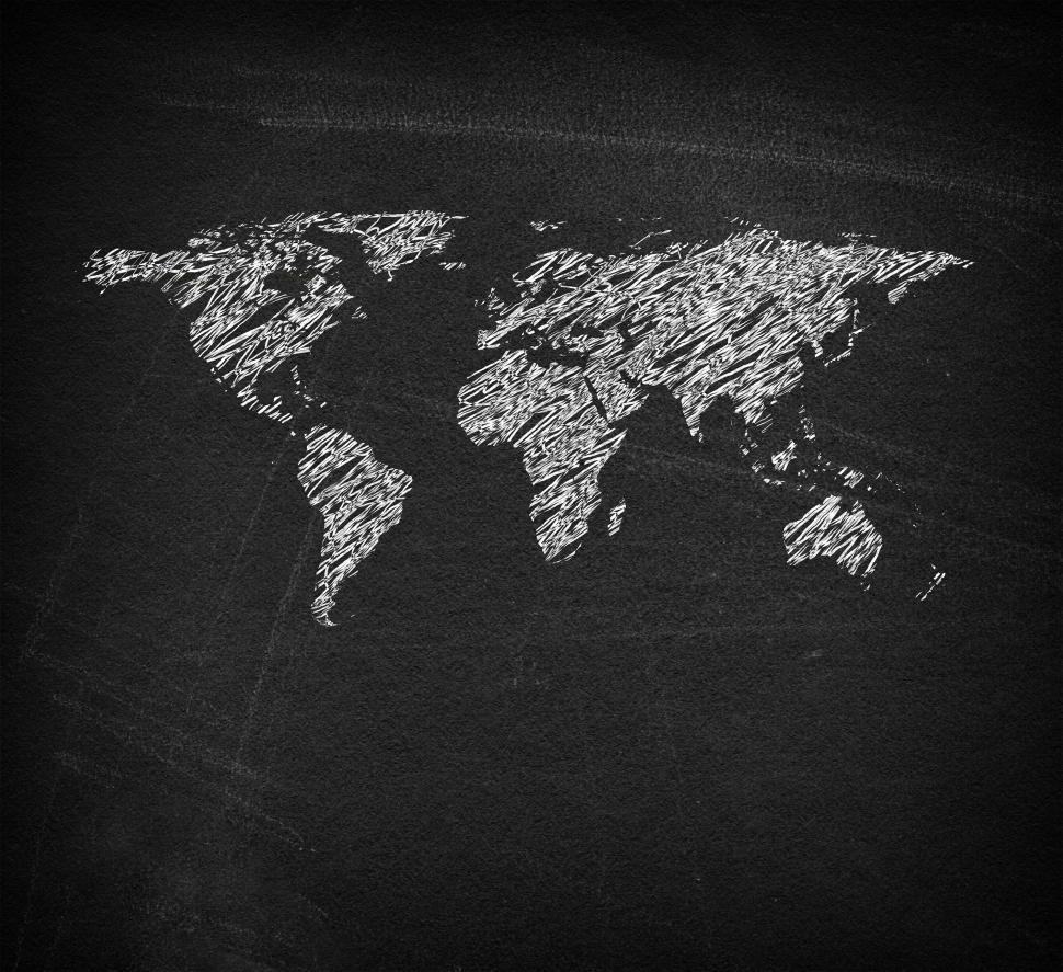Download Free Stock HD Photo of World map on blackboard - Sketchy looks Online