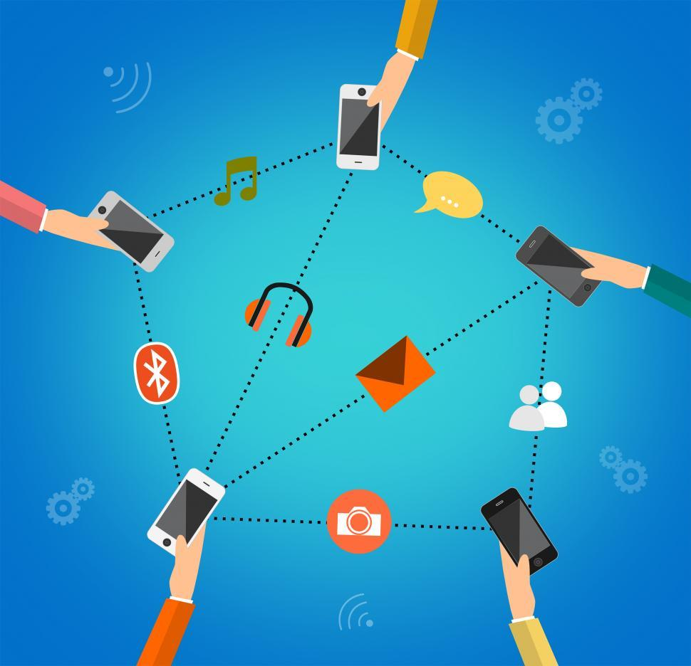 Download Free Stock Photo of Illustration concept for mobile apps - People communicating thro