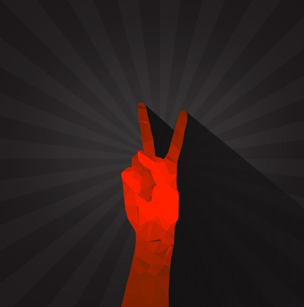 Download Free Stock Photo of Polygonal hand displaying victory sign