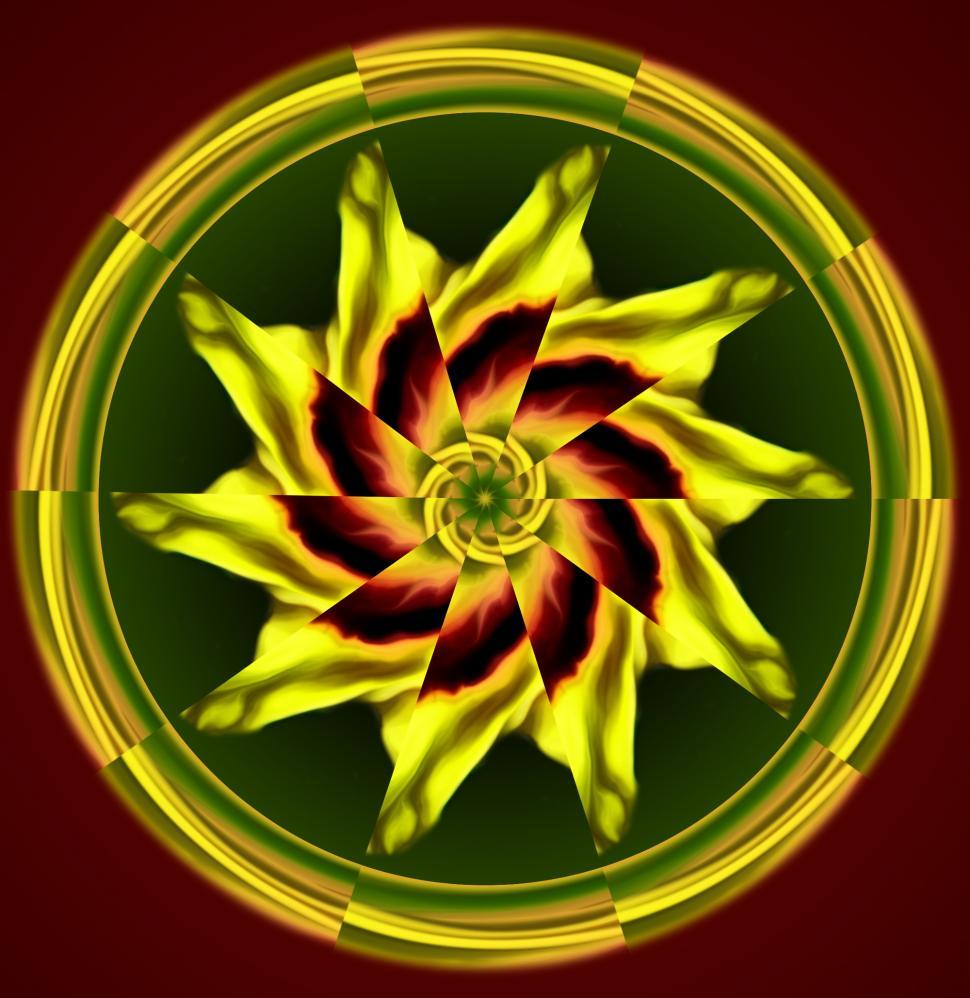 Download Free Stock Photo of Red and Yellow Kaleidoscope Design