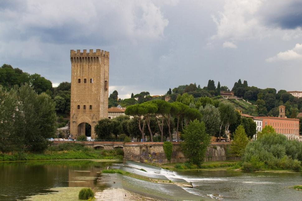 Download Free Stock Photo of Fiume Arno and the Piazza Giuseppe Pozzi