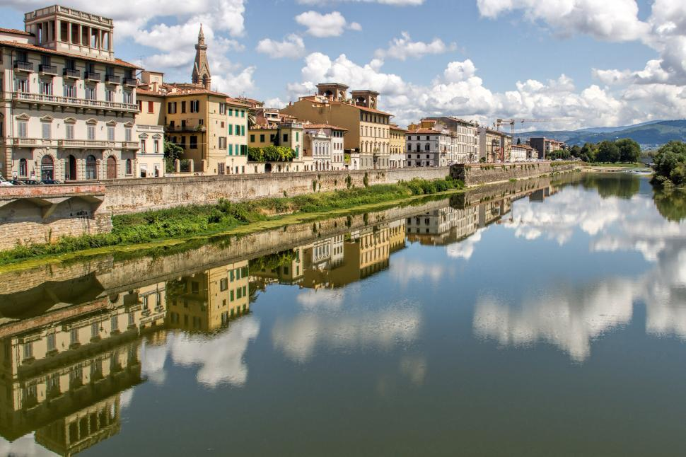 Download Free Stock Photo of Fiume Arno Building Reflections, Italy