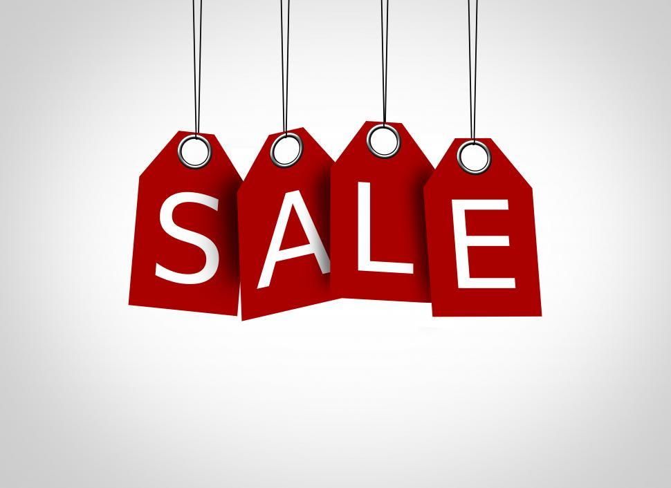 Download Free Stock Photo of Red tags dangling with the word sale - Sales concept