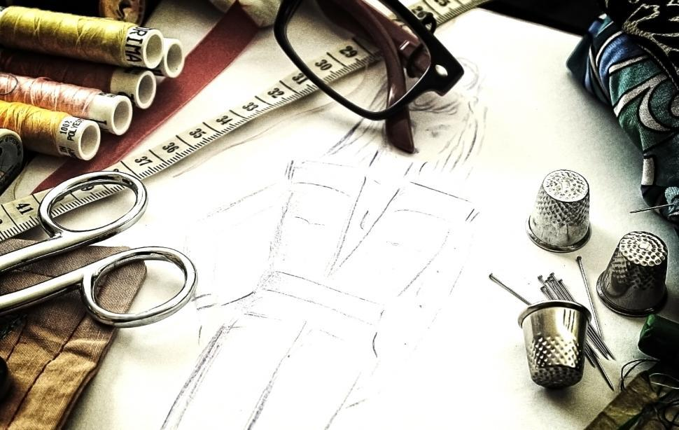 Download Free Stock Photo of Fashion design - The working tools of a couturière - Grunge noi