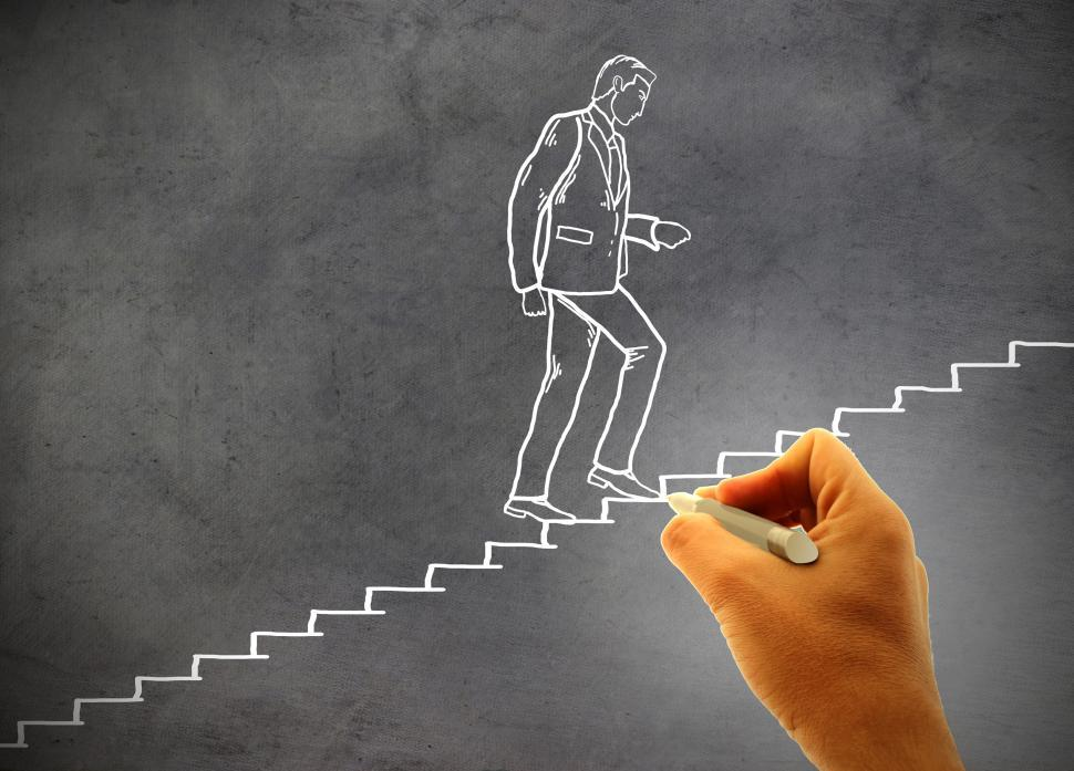 Download Free Stock Photo of Businessman climbing staircase - Concept of climbing the career