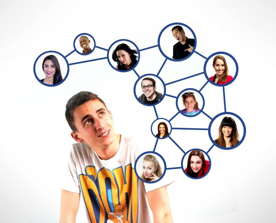 Download Free Stock HD Photo of A person and the respective personal connections in a social net Online