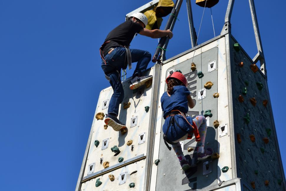Download Free Stock Photo of Wall climbing family