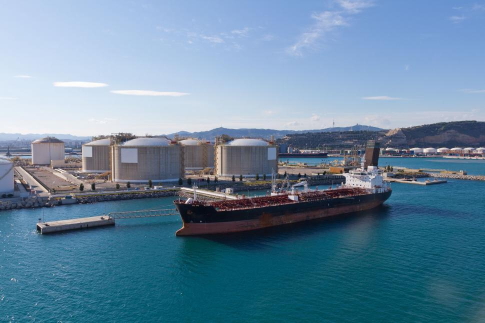 Download Free Stock Photo of Tanker at oil storage terminal