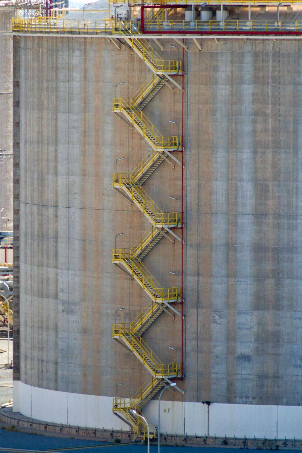 Download Free Stock Photo of Stairs on an Oil Storage Tank