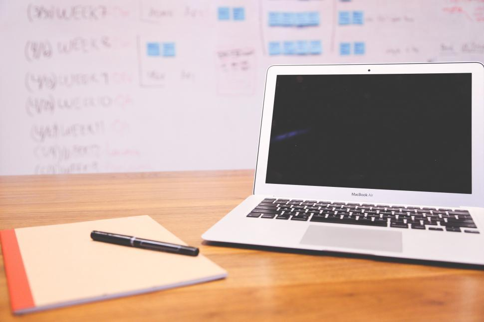 Download Free Stock Photo of Laptop open on desk
