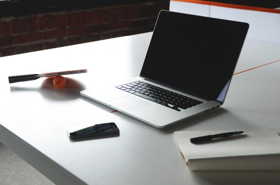 Download Free Stock Photo of Clean modern desk with laptop