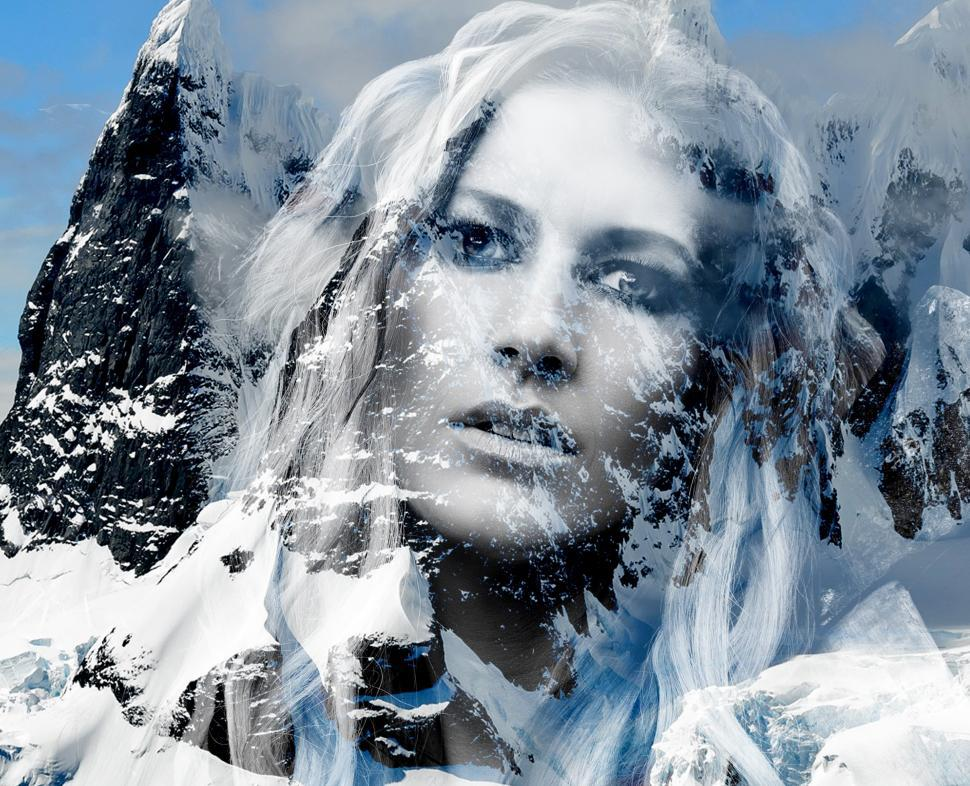 Download Free Stock Photo of Beautiful lady in the mountains  - Double exposure effect