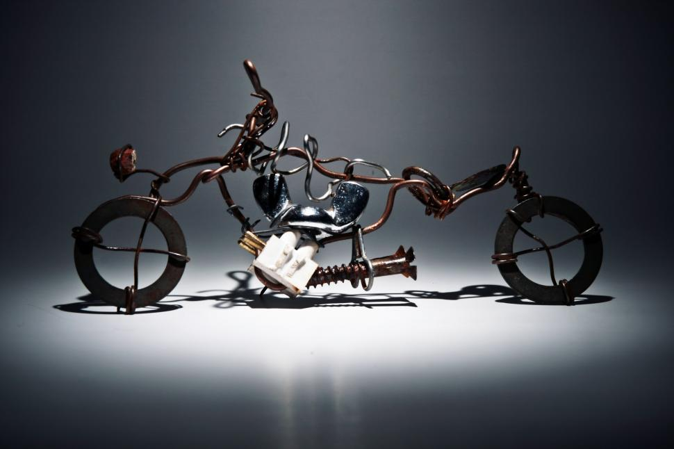 Download Free Stock Photo of Hand crafted wire motorcycle model