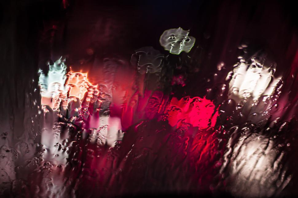 Download Free Stock Photo of Drops of rain water on glass