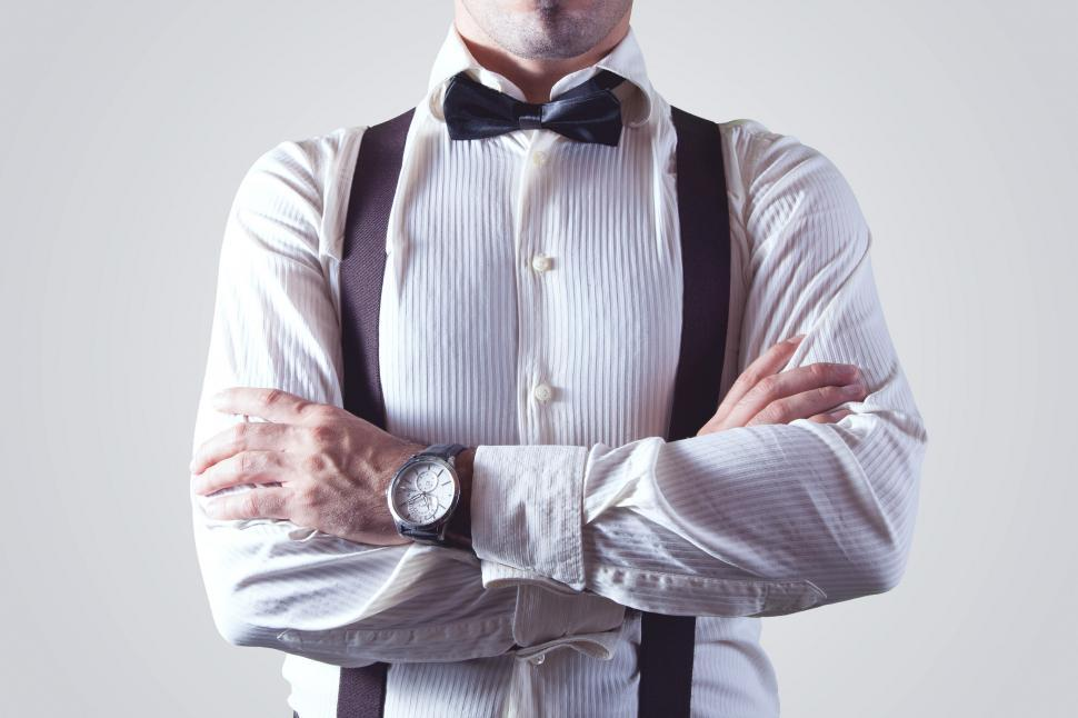 Download Free Stock HD Photo of Man wearing bow tie and suspenders Online
