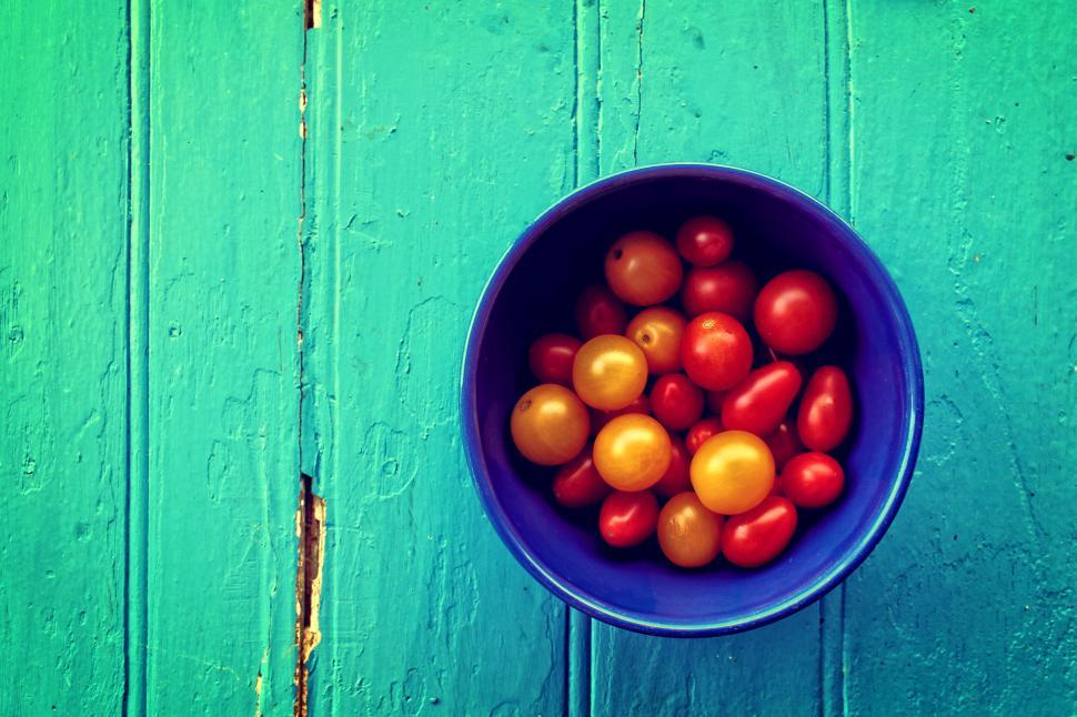 Download Free Stock Photo of Fresh colorful cherry tomatoes on wood background - Organic farm