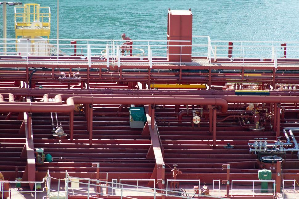 Download Free Stock HD Photo of Piping on the Deck of an Oil Tanker Online