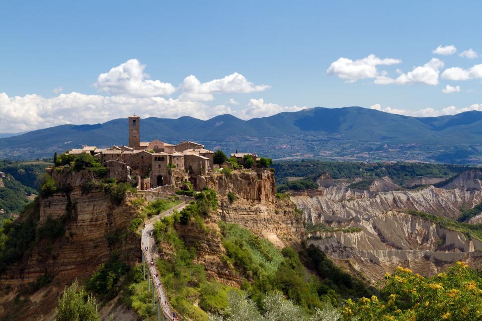 Download Free Stock Photo of Civita di Bagnoregio, wide angle