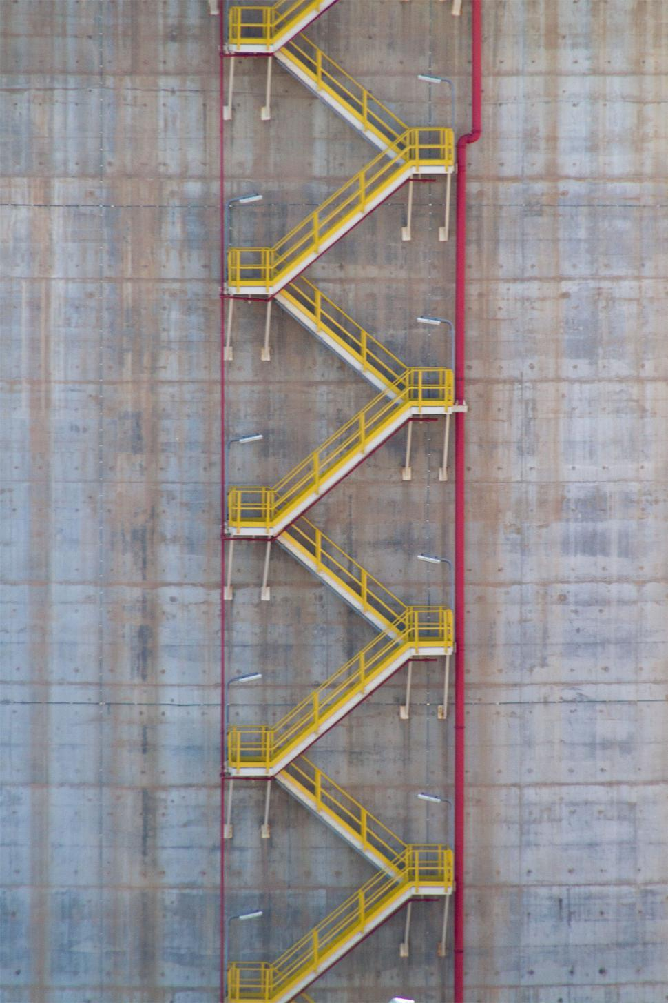 Download Free Stock Photo of Yellow Stairs on Storage Tank