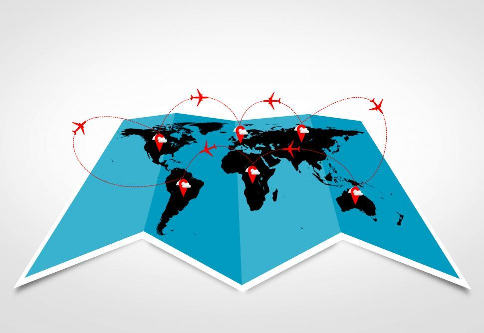 Download Free Stock Photo of Air travel and logistics concepts - Sky routes across the contin