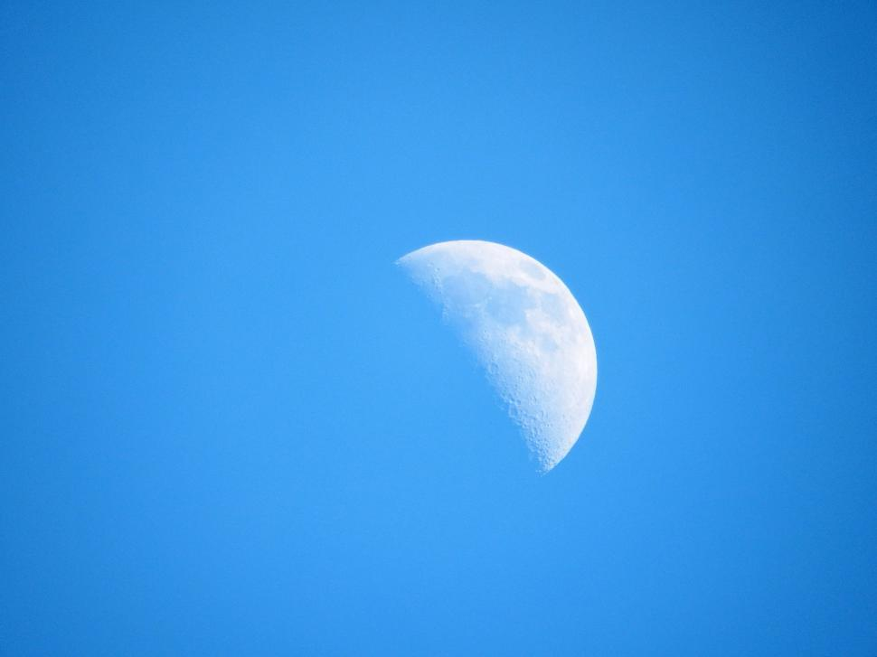 Download Free Stock Photo of Half Moon in Daylight