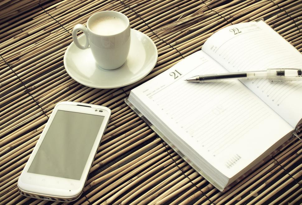 Download Free Stock HD Photo of Morning coffee - Mock up set of smartphone with notebook and cup Online