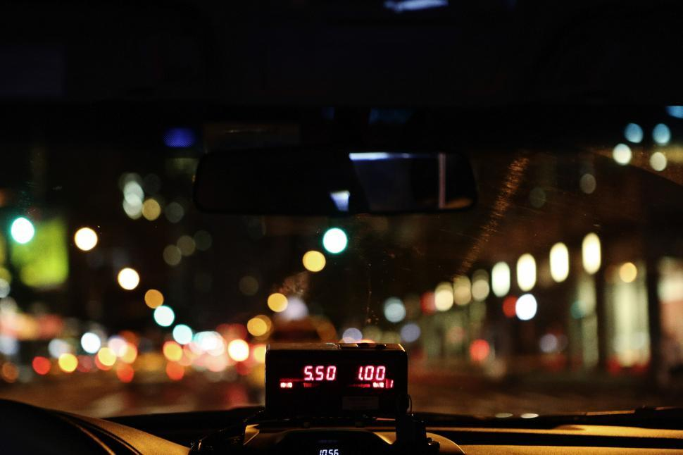 Download Free Stock HD Photo of Taxi meter at night Online