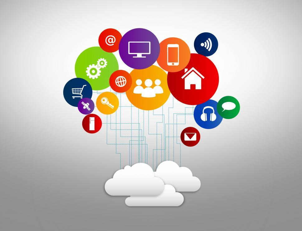 Download Free Stock Photo of Internet of Things concept with digital cloud and devices