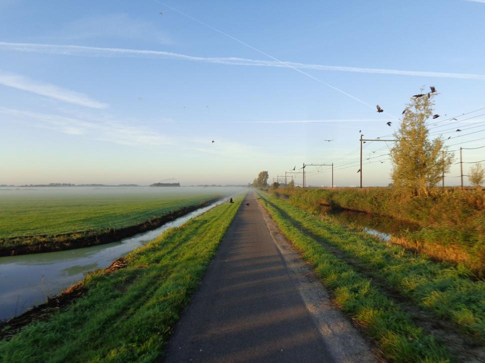 Download Free Stock HD Photo of Cycling path through fields in the Netherlands  Online
