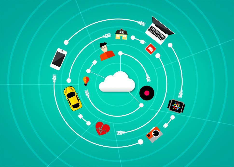 Download Free Stock HD Photo of Internet of Things - A connected world concept with digital clou Online