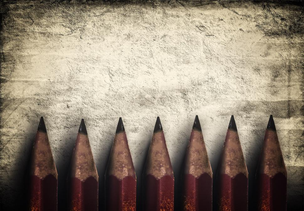 Download Free Stock Photo of Illustration of vintage style red pencils over rough background
