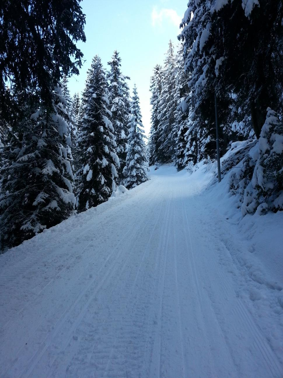 Download Free Stock HD Photo of Snowy mountain narrow path Online