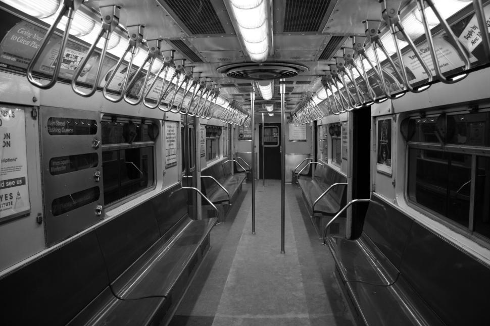 Download Free Stock HD Photo of New York Subway Redbird Car Interior Online