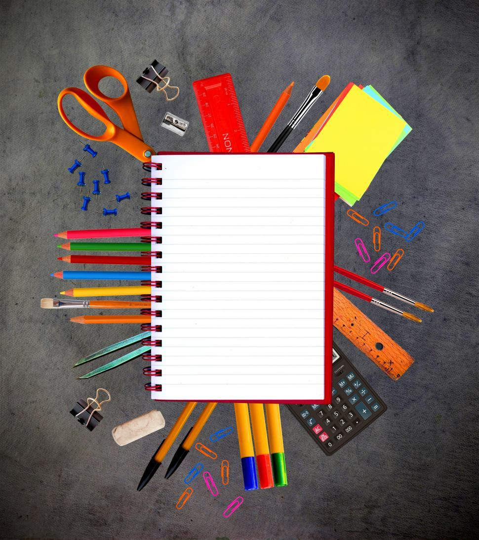 Download Free Stock Photo of Notebook and school stationery supplies - Learning and education