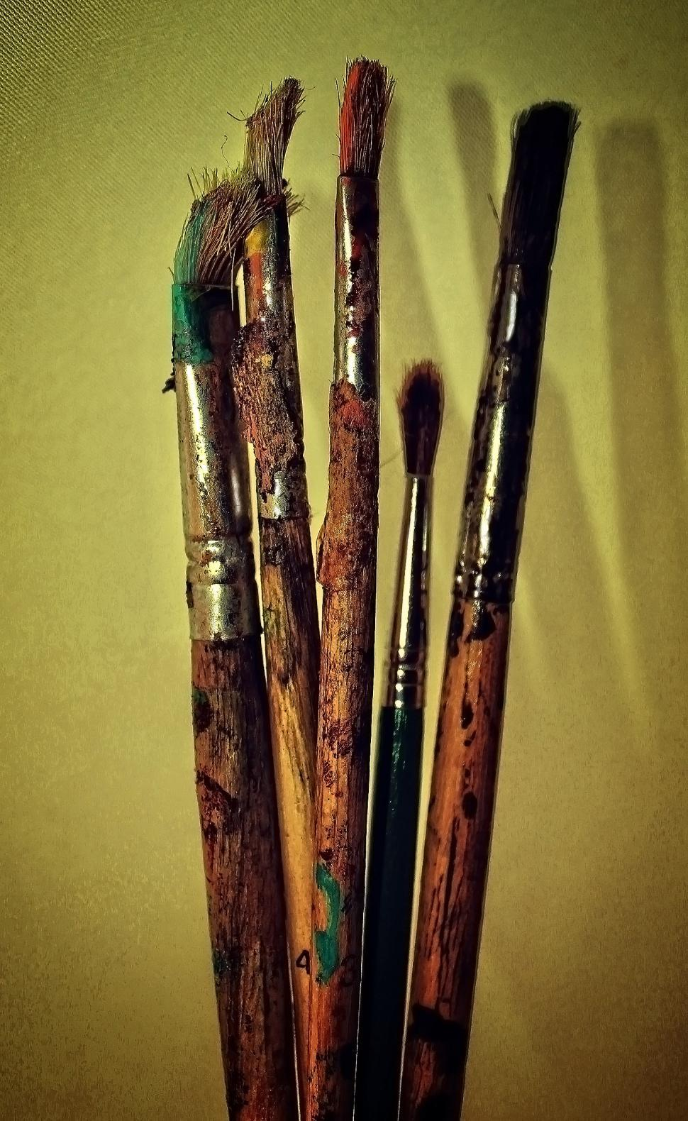Download Free Stock HD Photo of Used paintbrushes - Noisy grunge looks Online
