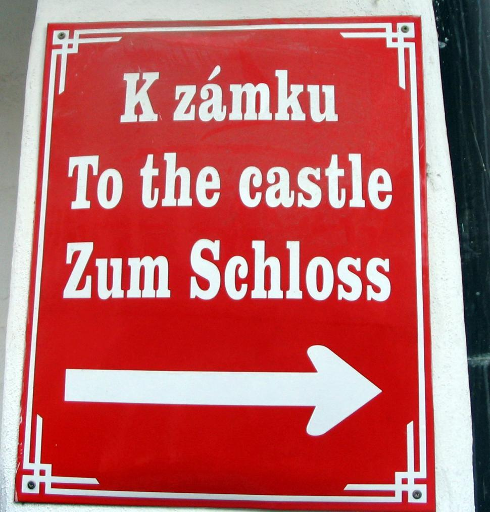 Download Free Stock Photo of Chesky Krumlov Sign to Castle