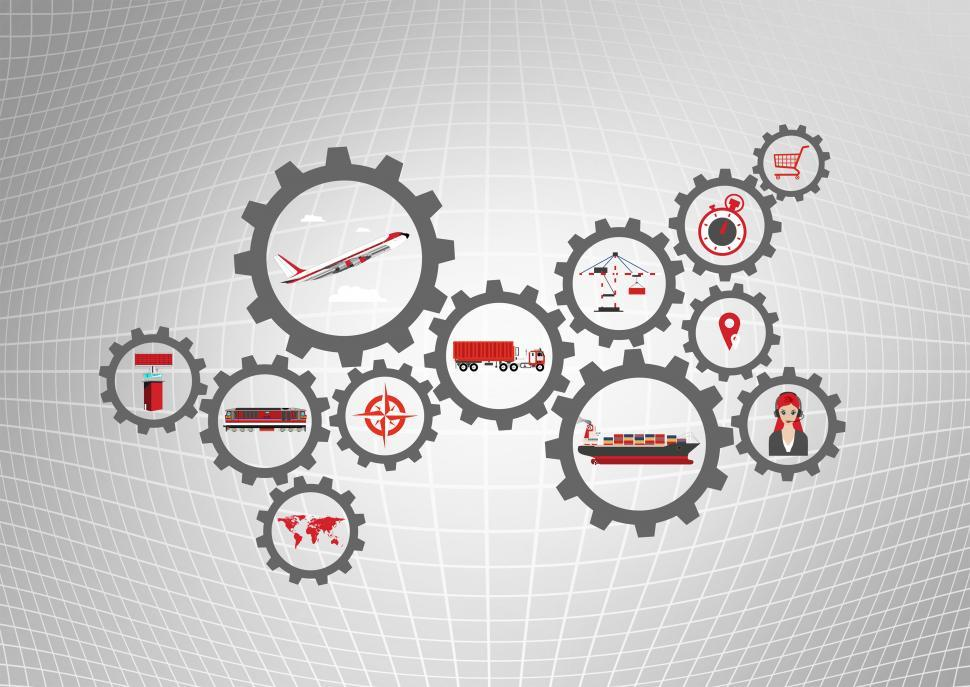 Download Free Stock Photo of Global logistics concept with transport industry icons over grid