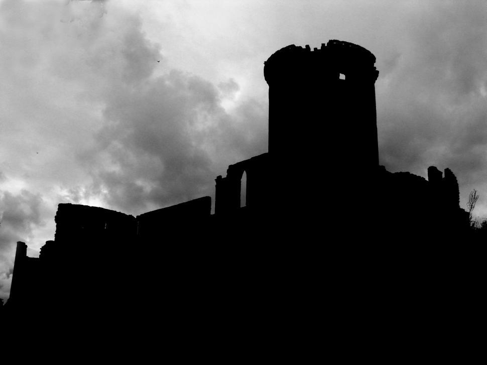 Download Free Stock Photo of Scottish castle ruins silhouette